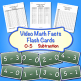 Video Math Facts Flash Cards - 0 to 5   (Subtraction) ( Horizontal Format)