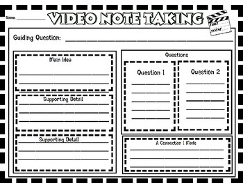 Video Note Taking Graphic Organizer for Upper Elementary and Middle Schoolers