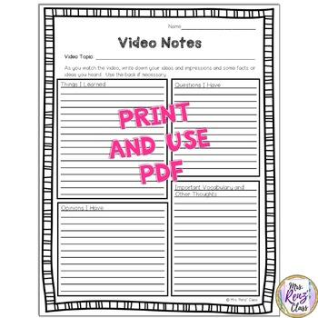 Video Notes or Film Note Taking Sheet (FREEBIE) Plus Digital Format