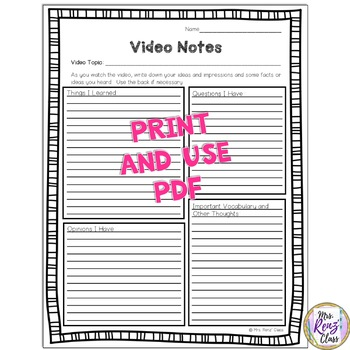 Video Notes Or Film Note Taking Sheet Freebie By Mrs Renz Class