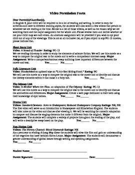 Video Permission Form