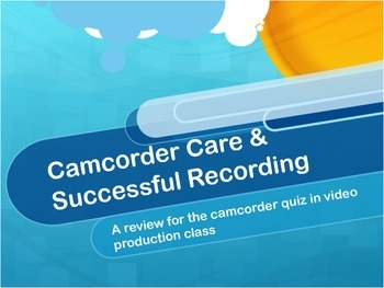 Video Production/Media Arts Camcorder Care & Successful Recording ppt