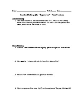 Video Questions Handout - to accompany America the Story of Us #11