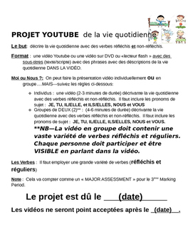 Video Quotidienne Project of French Reflexive Verbs/Daily Routine