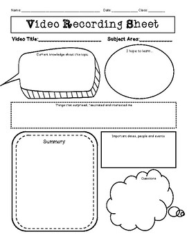 Video Recording Sheet - Graphic Organizer