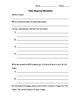 Video Response Worksheet