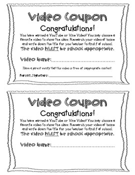 Video Reward Coupon