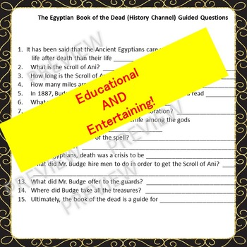Movie-Egyptian Book of the Dead-History Channel-Questions, Vocab, Quiz, and More