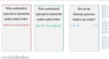 Video Tutorial 5.OA.2 Write simple expressions that record number calculations