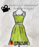 VIDEO: Vintage Fashion Dresses in Watercolor & Charcoal Art Lesson