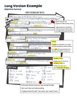 Video Vocabulary Notes