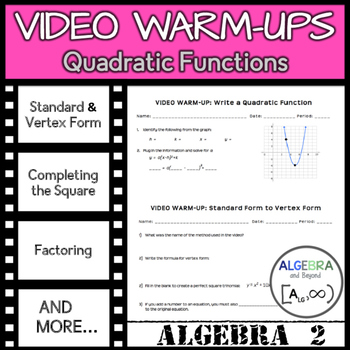 Graphing Quadratic Functions In Standard And Vertex Form Activity