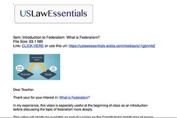 Video: What is Federalism? (preview link below)
