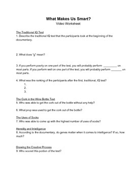 """Video Worksheet - BCC Challenges the IQ Test in """"What Makes Us Smart?"""""""