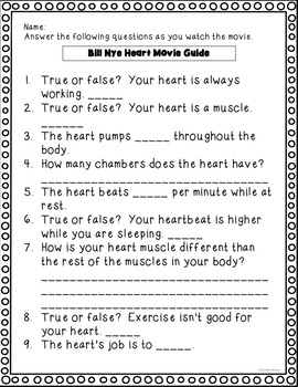 Video Worksheet Bill Nye Heart