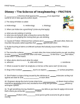 video worksheet disney imagineering friction by makesciencefun tpt. Black Bedroom Furniture Sets. Home Design Ideas