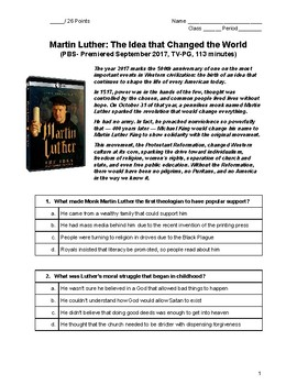 """Video Worksheet """"Martin Luther: The Idea that Changed the World"""""""