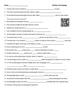 Video Worksheet (Movie Guide) for Bill Nye - Archaeology QR code link