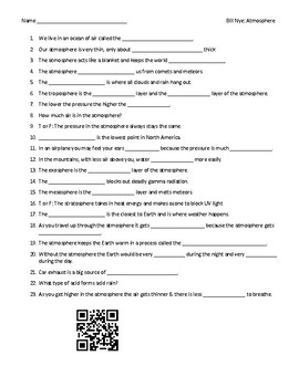 Worksheet (Movie Guide) for Bill Nye - Atmosphere QR code link