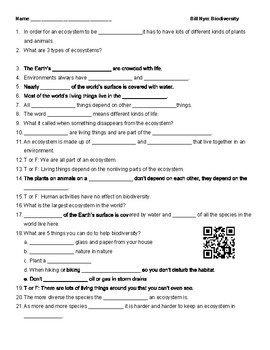 Video Worksheet (Movie Guide) for Bill Nye - Biodiversity ...