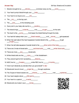 Video Worksheet (Movie Guide) for Bill Nye - Blood and Circulation QR code link