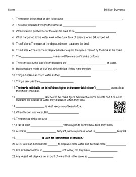 Video Worksheet (Movie Guide) for Bill Nye - Buoyancy QR code link