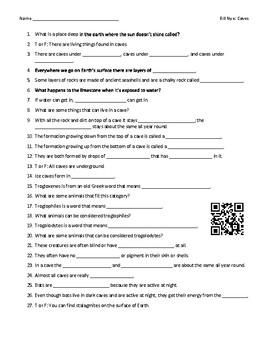 Video Worksheet (Movie Guide) for Bill Nye - Caves QR code link
