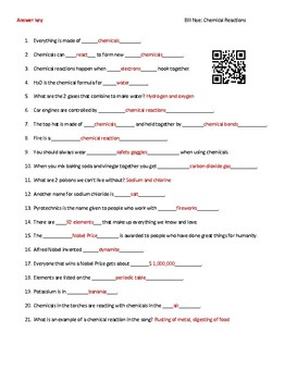 Video Worksheet (Movie Guide) for Bill Nye - Chemical Reactions QR ...