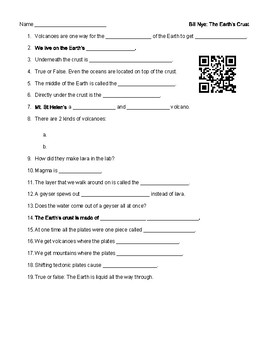 Video Worksheet (Movie Guide) for Bill Nye - Earth's Crust interactive QR code