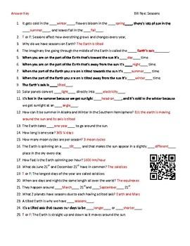 Video Worksheet (Movie Guide) for Bill Nye - Earth's Seasons QR code link
