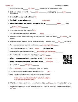 Video Worksheet (Movie Guide) for Bill Nye - Earthquakes QR code link