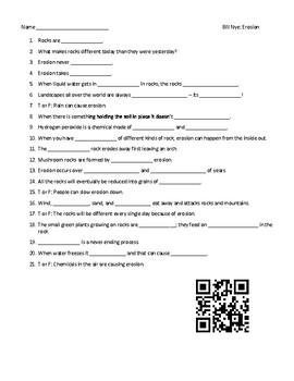 Video Worksheet (Movie Guide) for Bill Nye - Erosion QR ...