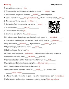 Video Worksheet (Movie Guide) for Bill Nye - Evolution QR code link