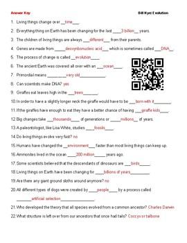 Video Worksheet (Movie Guide) for Bill Nye - Evolution QR code link