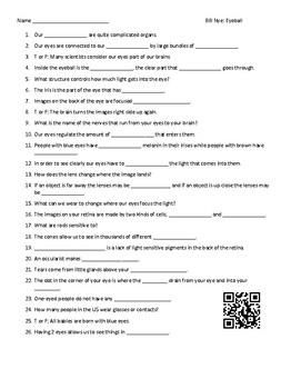 Video Worksheet (Movie Guide) for Bill Nye - Eyeball QR code link