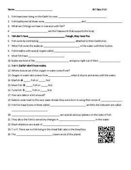 Video Worksheet (Movie Guide) for Bill Nye - Fish QR code link
