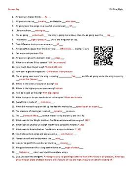 Video Worksheet (Movie Guide) for Bill Nye - Flight QR code link