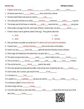 Video Worksheet (Movie Guide) for Bill Nye - Flowers QR code link