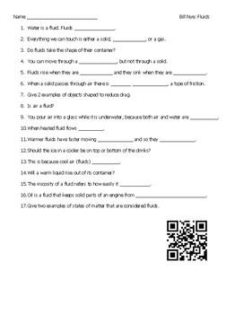 Video Worksheet (Movie Guide) for Bill Nye - Fluids QR code link