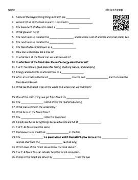 Video Worksheet  (Movie Guide) for Bill Nye - Forests QR code link