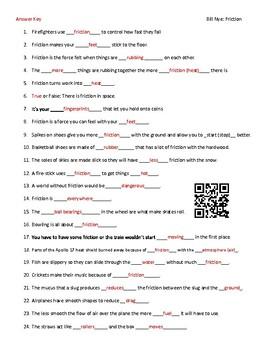 Video Worksheet (Movie Guide) for Bill Nye - Friction QR code link