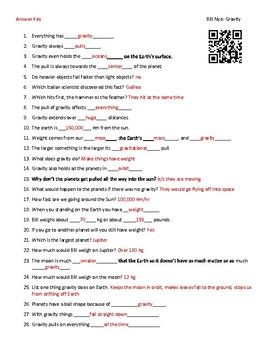 Video Worksheet (Movie Guide) for Bill Nye - Gravity QR code link