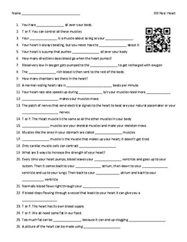 Video Worksheet (Movie Guide) for Bill Nye - Heart w/ interactive QR code link