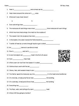 Video Worksheet (Movie Guide) for Bill Nye - Heat QR code link