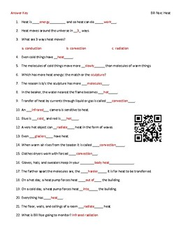 video worksheet movie guide for bill nye heat qr code link tpt rh teacherspayteachers com Bill Nye the Science Guy Bill Nye Heat Energy