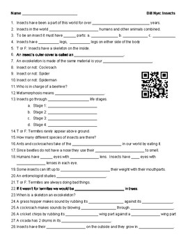 Video Worksheet (Movie Guide) for Bill Nye - Insects QR code link