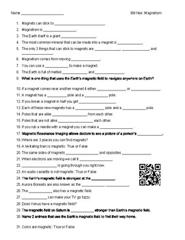 Bill Nye Magnetism Worksheet - wiildcreative