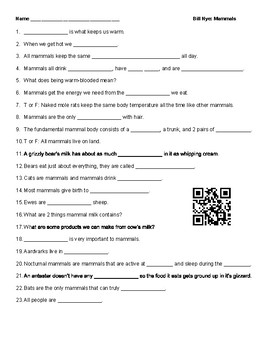 Video Worksheet (Movie Guide) for Bill Nye - Mammals QR code link