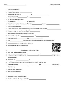 Video Worksheet (Movie Guide) for Bill Nye - Nutrition QR code link