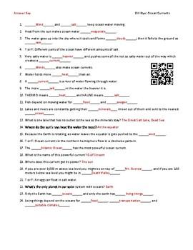 Video Worksheet Movie Guide For Bill Nye Ocean Currents Qr Code Link